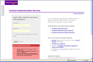 University of Manchester Central Authentication Service