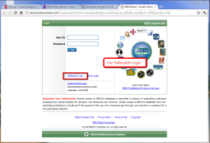 EBSCO login page for HBR