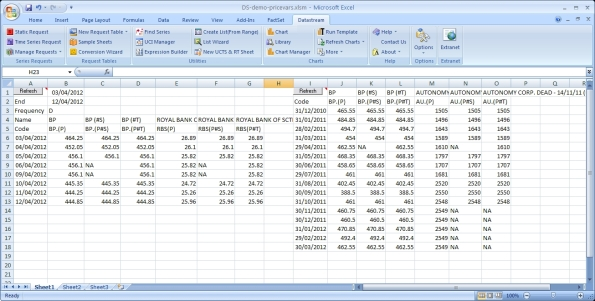 Datastream Excel sheet showing P, P#T and P#S